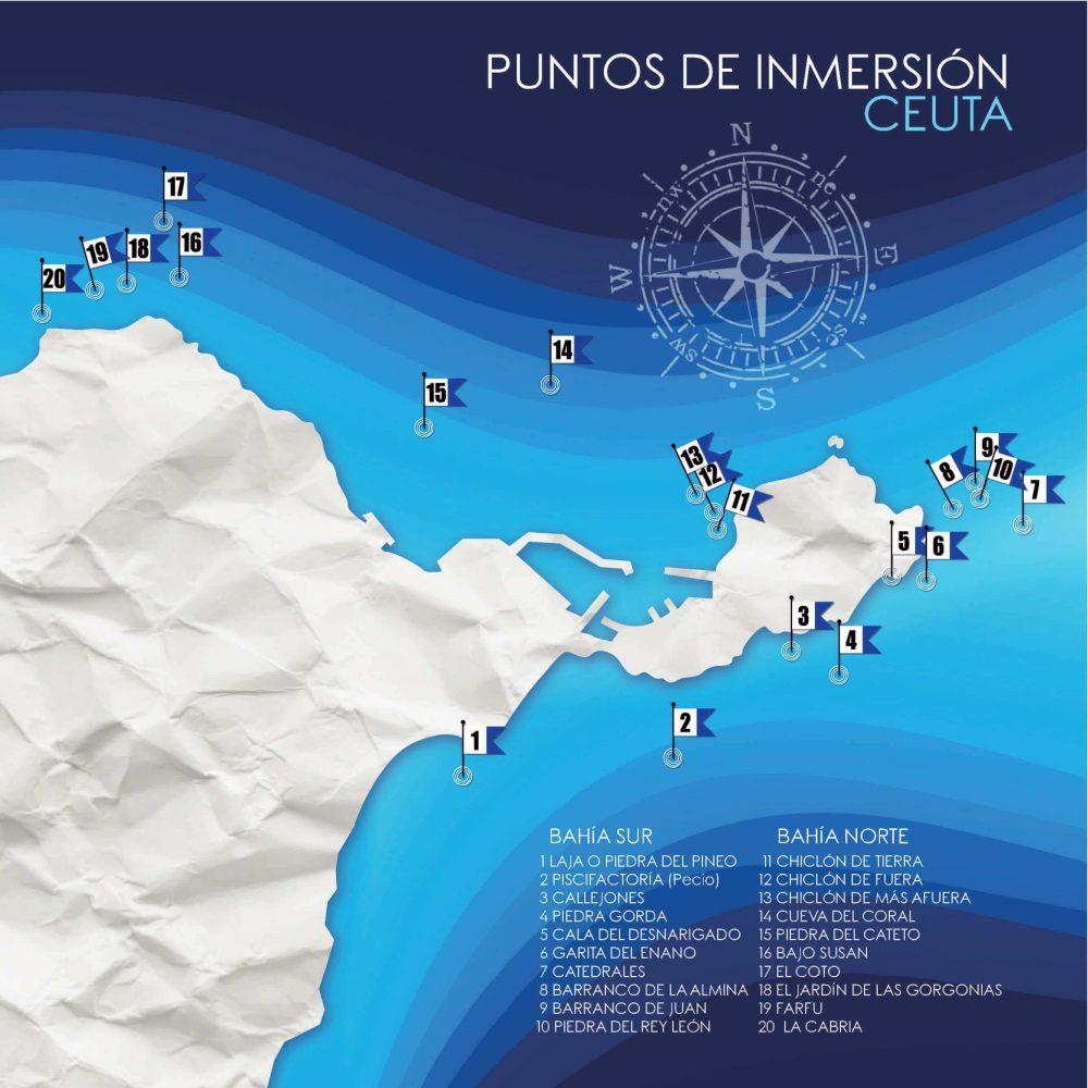 Puntos de inmersión de Ceuta